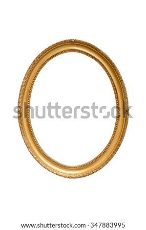 Oval decorative picture frame isolated on white background with clipping path - stock photo