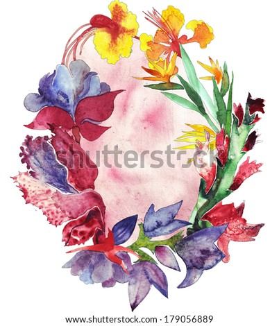 Oval frame watercolor flowers illustration - stock photo
