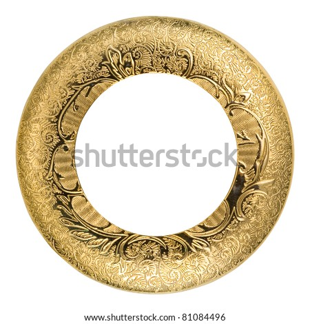 oval gold picture frame - stock photo