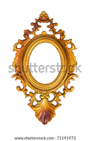 Oval gold picture frame isolated on white background with clipping path - stock photo