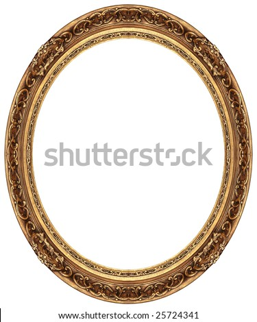 Oval gold picture frame with a decorative pattern - stock photo