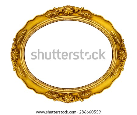 Oval Golden Frame - stock photo