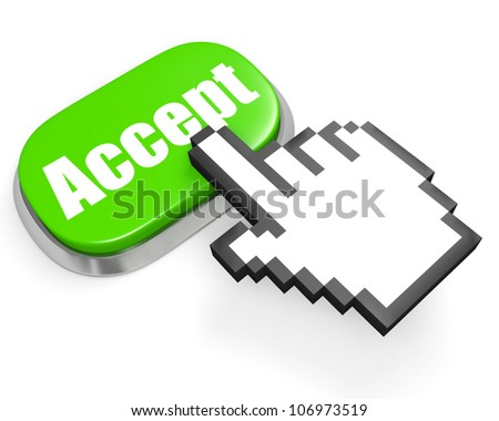 Oval green button accept and hand cursor - stock photo