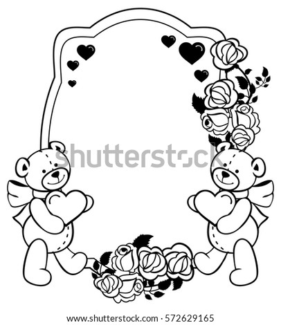 coloring pages teddy bear holding roses | Set Three Angels Clouds Speak Declaration Stock Vector ...
