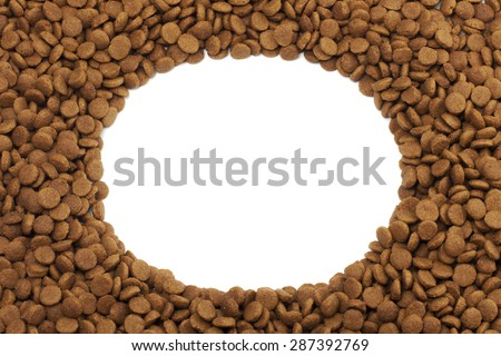 Oval or circular frame of pet (dog or cat) food for background u - stock photo