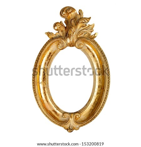Oval ornate golden picture frame