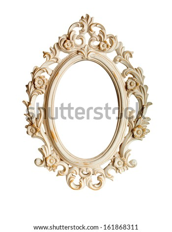 Oval ornate vintage frame isolated over white background - stock photo