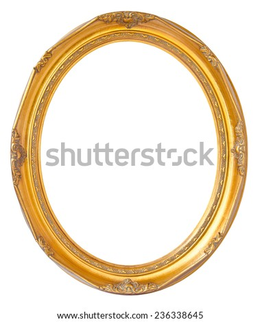 Oval photo bronze wooden frame isolated on white background, clipping path. - stock photo