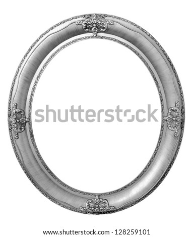 Oval photo bronze wooden frame isolated with clipping path - stock photo