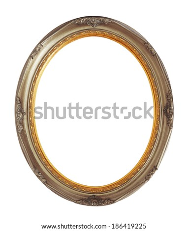 Oval photo bronze wooden frame isolated with clipping path. - stock photo