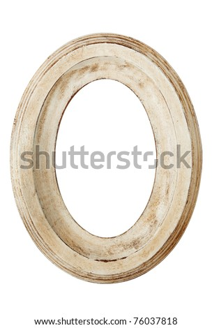 Oval picture Frame, with distressed finish.  Isolated on white. - stock photo