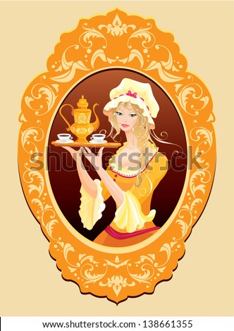 Oval Portrait of Beautiful blonde girl with coffee cup and pot dressing vintage clothes. Raster version - stock photo