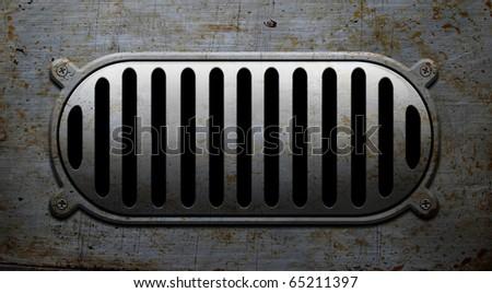Oval rusted metallic loudspeaker - stock photo