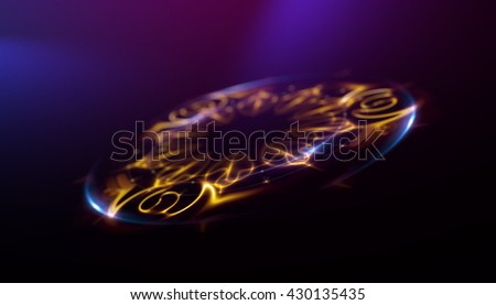 Oval shiny frame background. Intersection curves. luminous swirling backdrop. Glowing oval. Shine round frame with light circles light effect. Glowing cover. Space for your message. - stock photo