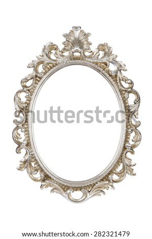 Oval silver picture frame isolated with clipping path. - stock photo