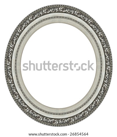 Oval silver picture frame with a decorative pattern - stock photo