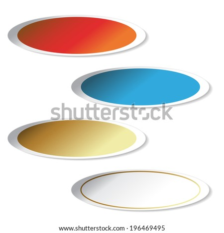 oval stickers, decoration labels - stock photo