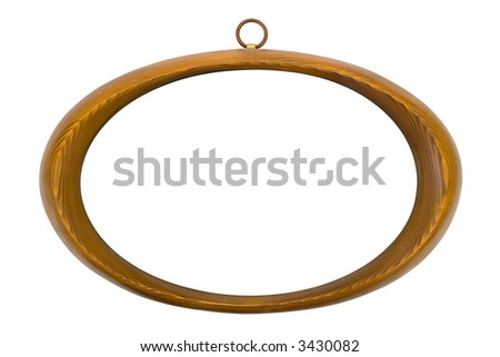 Oval wooden frame, isolated on white background - stock photo