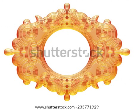 Oval yellow orange picture frame isolated on white background with clipping path - stock photo