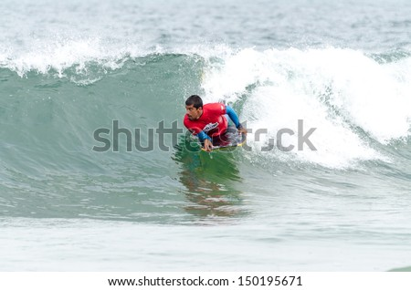 OVAR, PORTUGAL - AUGUST 15: Francisco Pinheiro at the 2nd Stage of the Bodyboard Protour 2013 on august 15, 2013 in Ovar, Portugal.