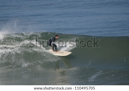 OVAR, PORTUGAL - AUGUST 18: Ricardo Almeida at 1st stage of National Longboard Championship  on august 18, 2012 in Ovar, Portugal.