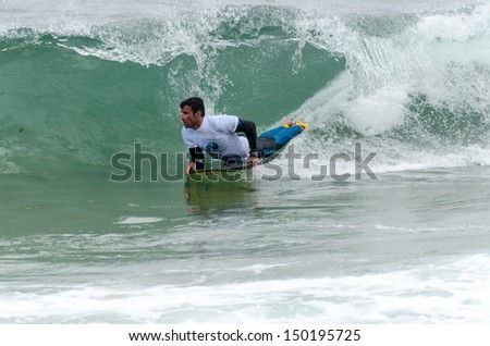 OVAR, PORTUGAL - AUGUST 15: Rui Barreira at the 2nd Stage of the Bodyboard Protour 2013 on august 15, 2013 in Ovar, Portugal.
