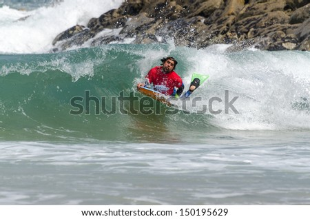 OVAR, PORTUGAL - AUGUST 15: Silvano Lourenco at the 2nd Stage of the Bodyboard Protour 2013 on august 15, 2013 in Ovar, Portugal.