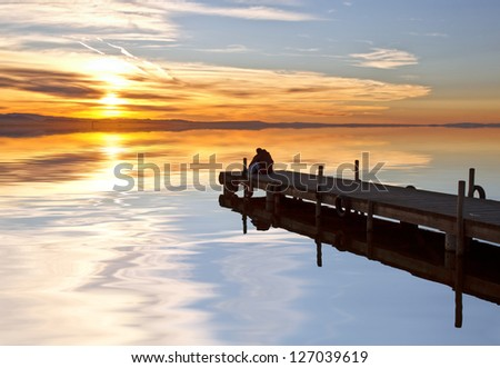 ove between the still waters - stock photo