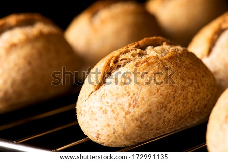 Oven baked bread close up - stock photo