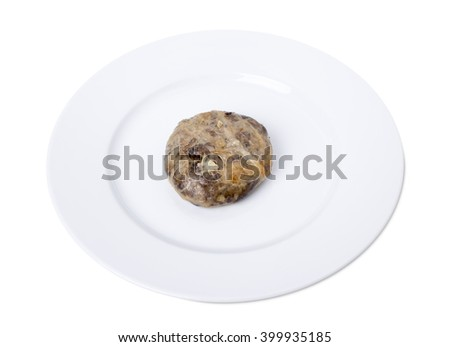 Oven baked liver cutlets on a white plate. Isolated on a white background.