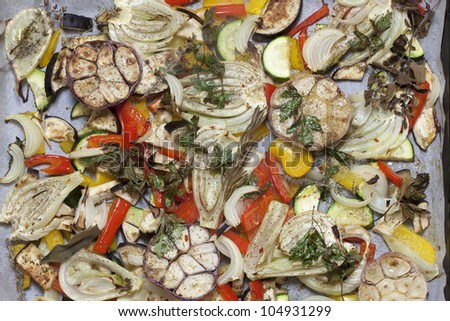 oven baked summer vegetables - food background - stock photo
