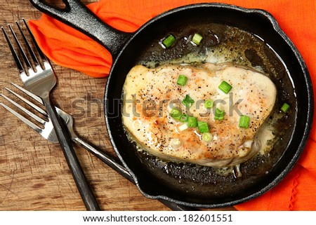 Oven Baked Swordfish in Butter with Green Onions and Ginger Top View Over White - stock photo