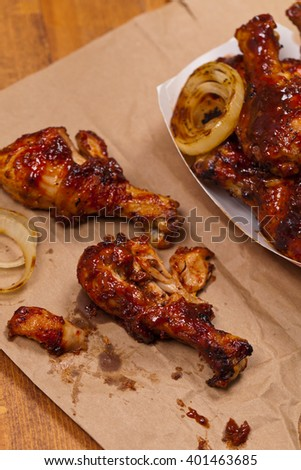 Oven BBQ Chicken Drumsticks. Selective focus. - stock photo