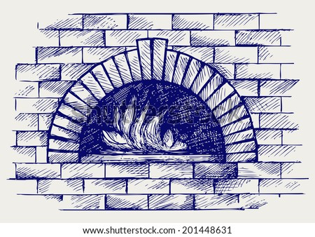 Oven for cooking. Doodle style. Raster version - stock photo