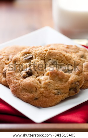 oven fresh home made chocolate chip and walnut cookies with a glass of milk - stock photo