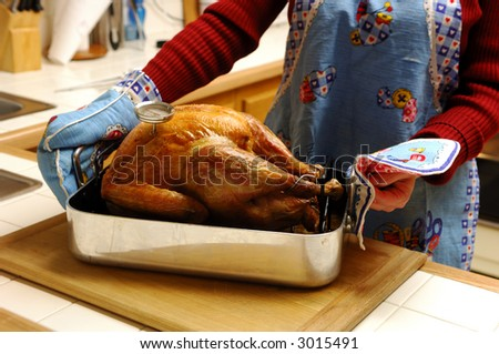 Oven Roasted Turkey Fresh Out of the Oven - stock photo