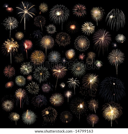 Over 50 fireworks bursts combined in one very large image - stock photo