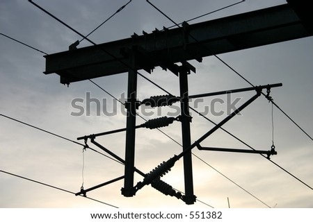 Over head railway power lines