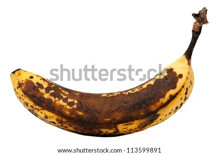 Over ripe banana isolated on white with clipping path
