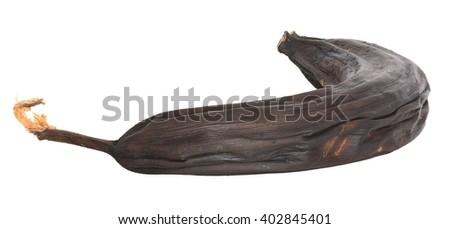Over ripe black banana isolated on white with clipping path - stock photo