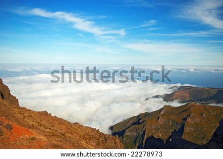 Over the sky. Mountains in Madeira - stock photo