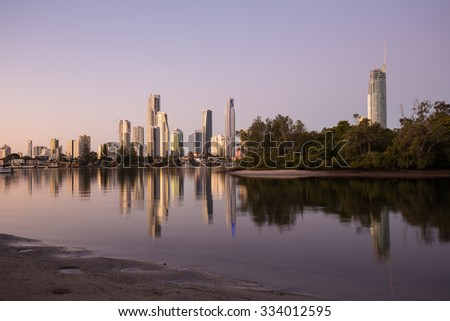 Over the water view of the Surfers Paradise, Queensland, Australia