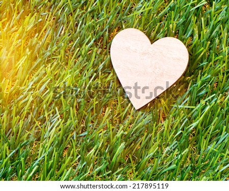 Over View of Wooden Heart on Grass Lit by Sunbeam - stock photo