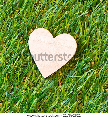 Over View of Wooden Heart on green grass. Symbol of love and romance - stock photo