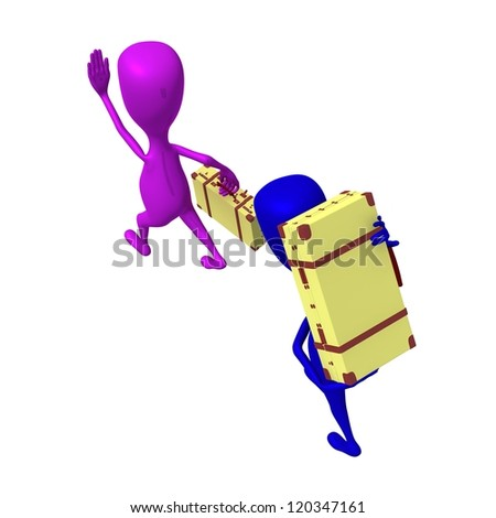 Over view puppets move to station with carriage - stock photo