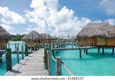 over water bungalow and the turquoise color lagoon