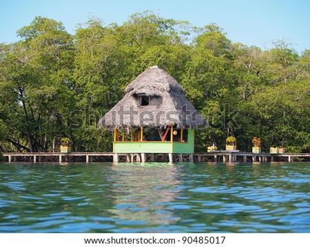 Over water thatched bungalow with lush tropical vegetation in background, Caribbean sea, Bocas del Toro, Panama