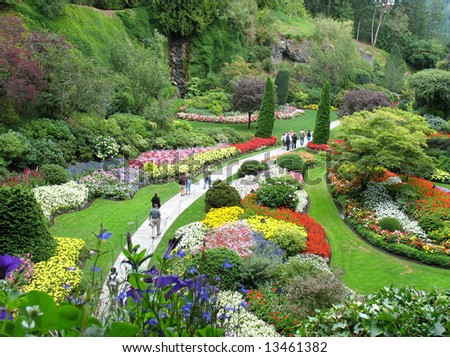 Over 100 years in bloom - The Butchart Gardens, Victoria, BC - stock photo