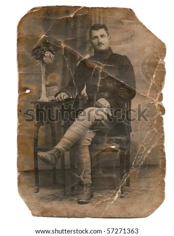 Over 100 years old photo of a Romanian soldier - stock photo