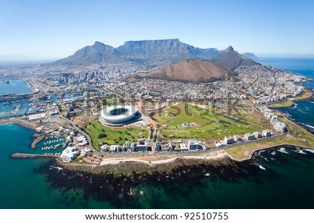 overall aerial view of Cape Town, South Africa - stock photo